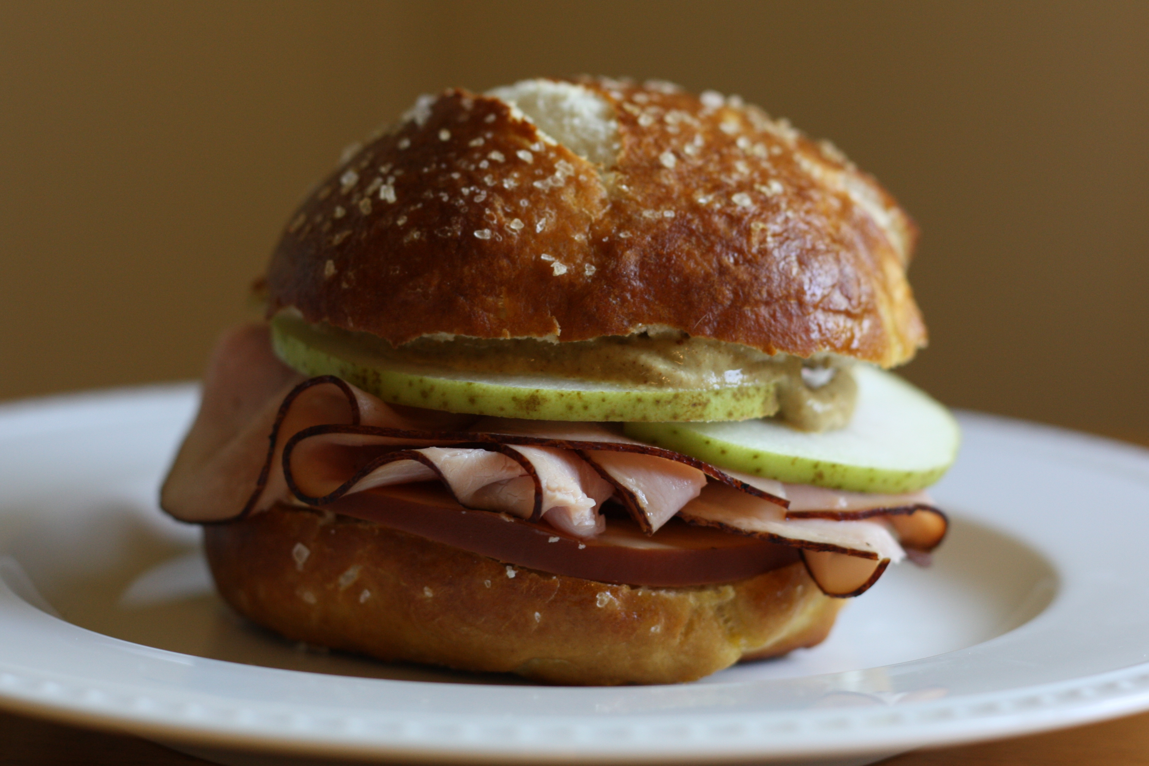 ... Smoked Gouda, Black Forest Ham, Thinly Sliced Pear, and German Mustard