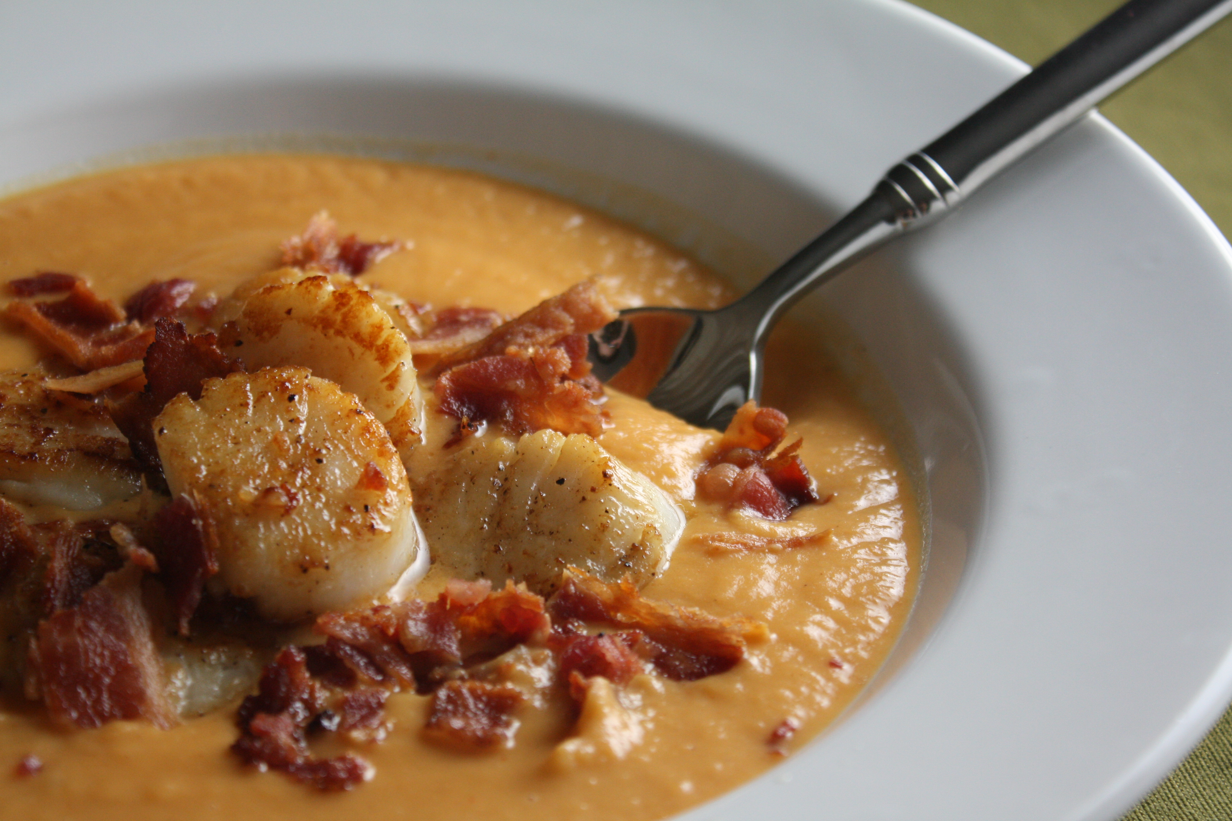 ... Potato Bisque with Pan-Seared Scallops and Bacon | The Gourmand Mom