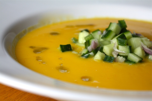 Chilled Mango Cucumber Gazpacho | The Gourmand Mom