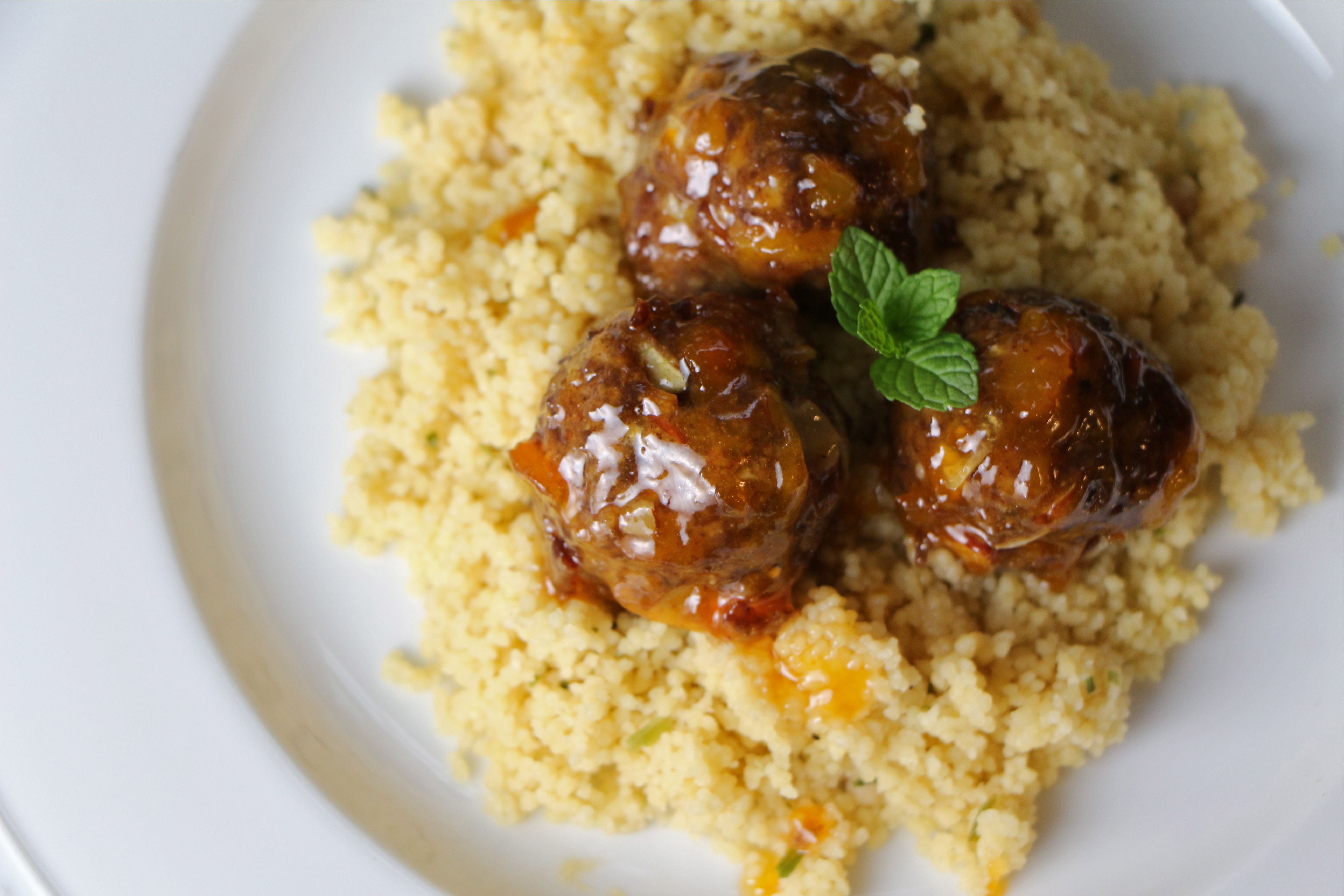 Moroccan-Spiced Lamb Meatballs in Minted Apricot Glaze ...